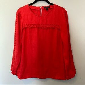 J crew top size 2 red linen long sleeve